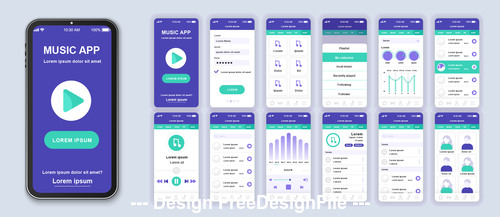 Music mobile app Ui Kit Screen vector