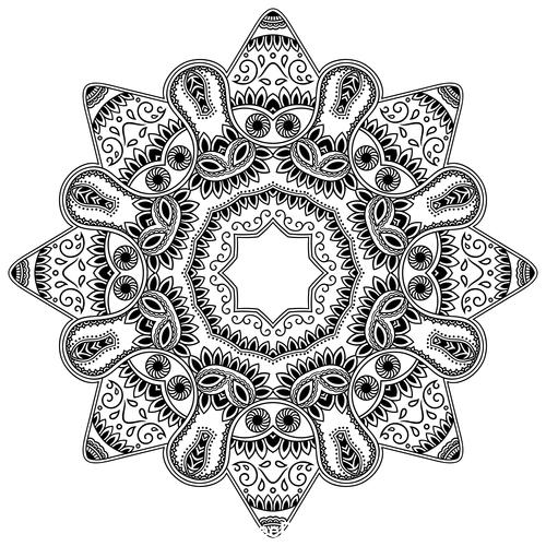 Mysterious pattern mandala flower tattoo vector