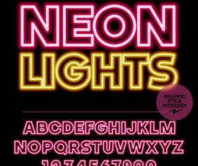 Neon lights colorful alphabet vector