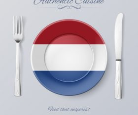 Netherlands authentic cuisine and flag circ icon vector