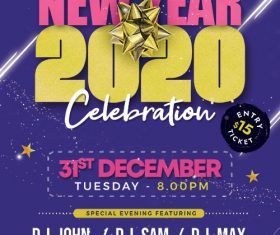 New Year 2020 Party Poster PSD Template