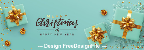 New year merry christmas cyan background vector
