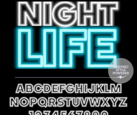 Night life color alphabet vector