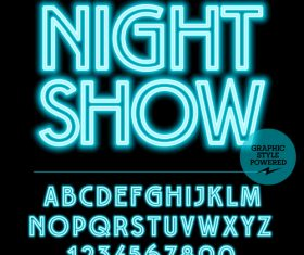 Night show color alphabet vector