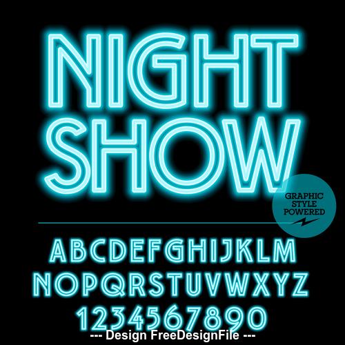Night show color alphabet vector