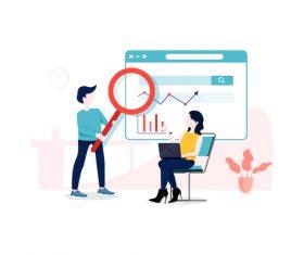Observing data trend illustration vector