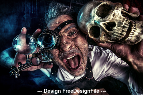 Old medieval scientist with skull and Halloween Stock Photo 01