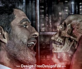 Old medieval scientist with skull and Halloween Stock Photo 02