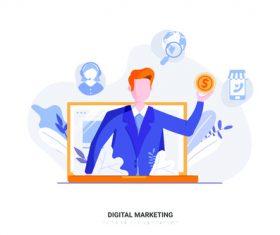 Online digital marketing vector