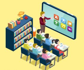Online education information element illustration vector