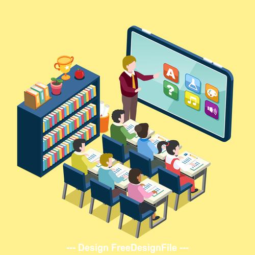 Online education information element illustration vector
