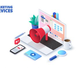 Online mrketing services concept illustration vector