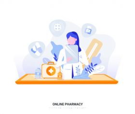 Online pharmacy cartoon illustration vector