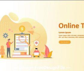 Online tax cartoon illustration vector