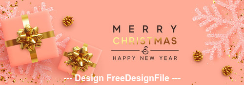 Orange background merry christmas banner vector