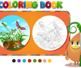Painting butterfly and grasshopper coloring book vector