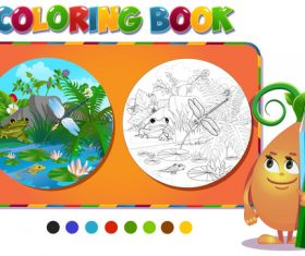 Painting frog and river coloring book vector
