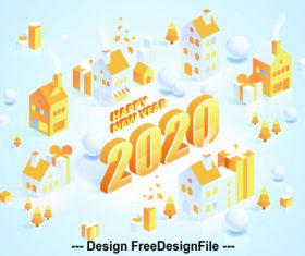 Paper-cut art 2020 Happy new year vector