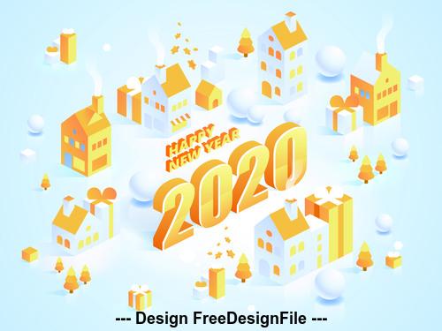 Paper cut art 2020 Happy new year vector