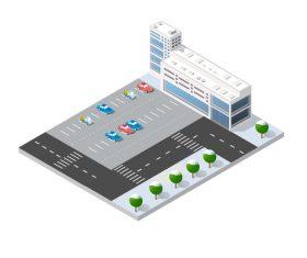 Parking lot cartoon vector