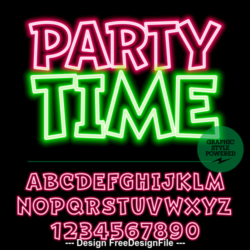 Party time color alphabet vector
