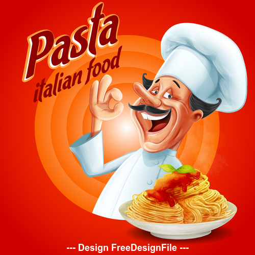 Pasta italian food flyer vector