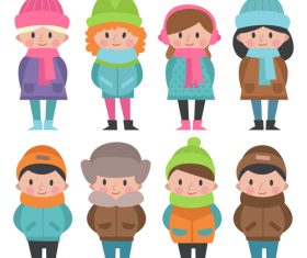 People in winter wear vector