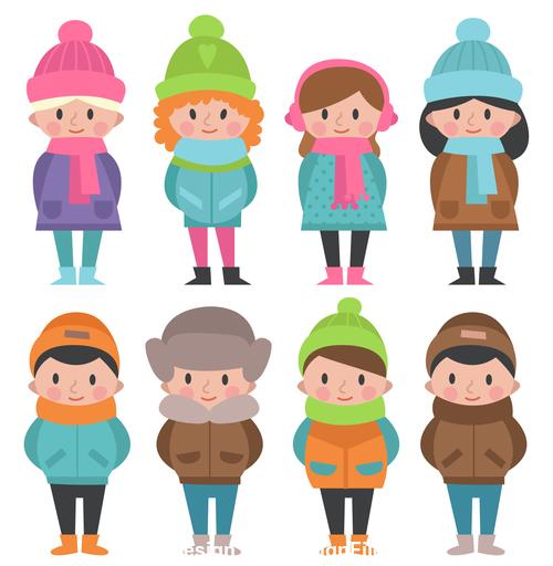 People in winter wear vector