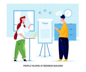 People talking at besiness building cartoon illustration vector