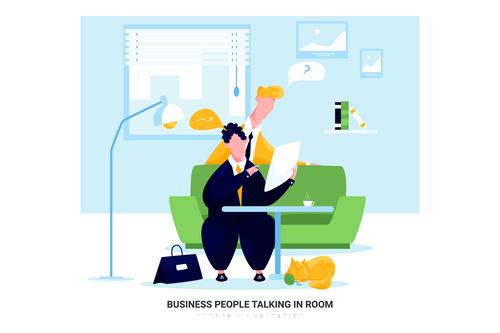 People talking in room cartoon illustration vector
