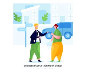 Peoplr talking on street cartoon illustration vector