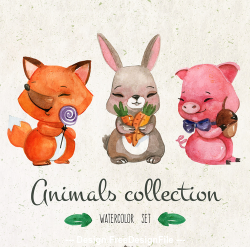 Pig and rabbit colorful watercolor animal painting vector