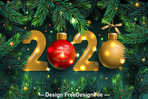 Pine branches background decoration 2020 new year template vector