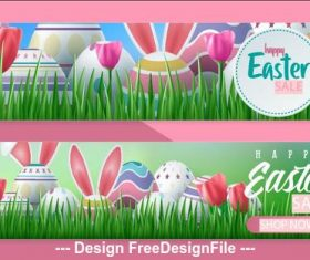 Pink background easter sale banner vector