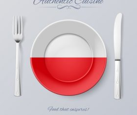 Poland authentic cuisine and flag circ icon vector
