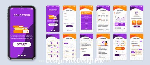 Purple background education mobile app Ui Kit Screen vector