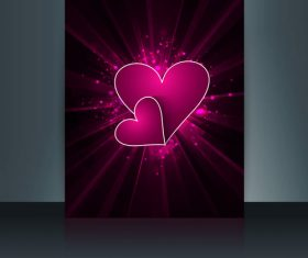 Purple glitter background heart shaped brochure cover vector