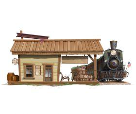 Railway station wooden building vector