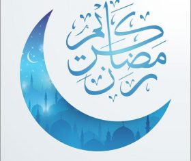 Ramadan Kareem mosque night covered with Islamic crescent vector
