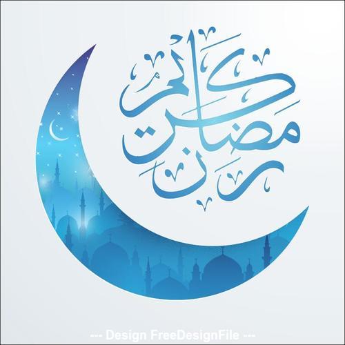 Ramadan Kareem mosque night covered with Islamic crescent vector