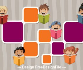 Reading books students and color dialog vector