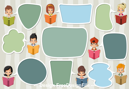 Reading books students horizonta banner vector
