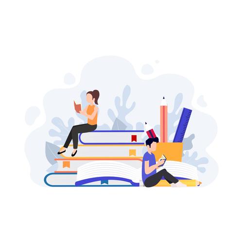 Reading cartoon illustration vector