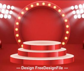 Red background abstract round podium vector