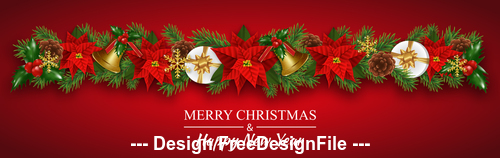 Red background christmas elements decorative card vector