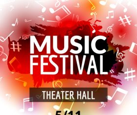 Red background music festival flyer vector
