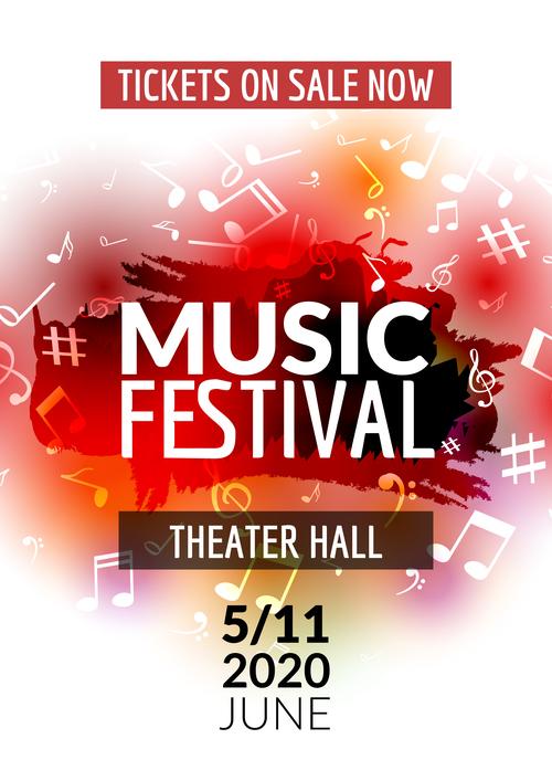 Red background music festival flyer vector