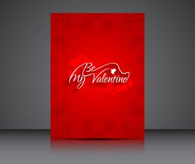 Red background print heart shaped brochure cover vector
