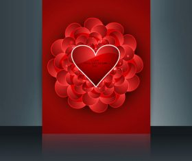 Red background valentines day heart shaped cover vector