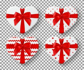 Red bow heart shaped gift box vector